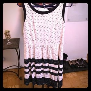 White and Navy Eyelet Stripped Dress